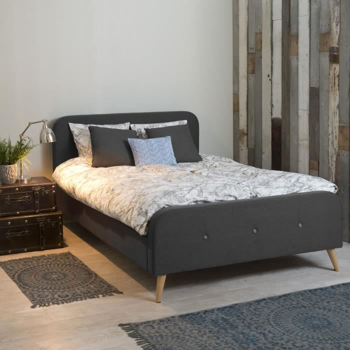 agnes lit avec t te de lit 140x200cm gris achat vente structure de lit agnes lit avec t te. Black Bedroom Furniture Sets. Home Design Ideas