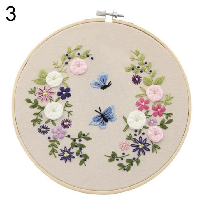 Effet 3D Broderie Fleur DIY Débutant Tissu Cadre Couture Couture Home Wall  Decor 3