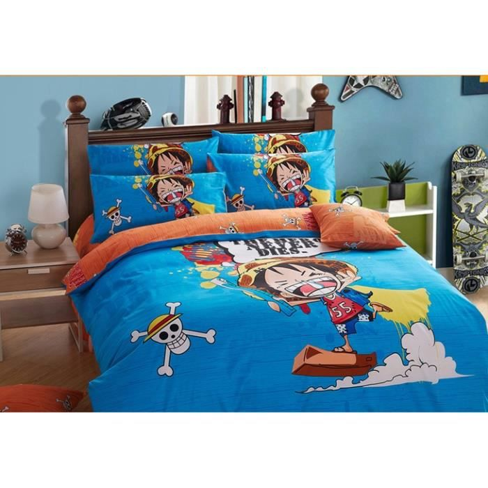 drap housse one piece Parure de lit one piece luffy Coton 200*230 cm 4 piece   Achat  drap housse one piece