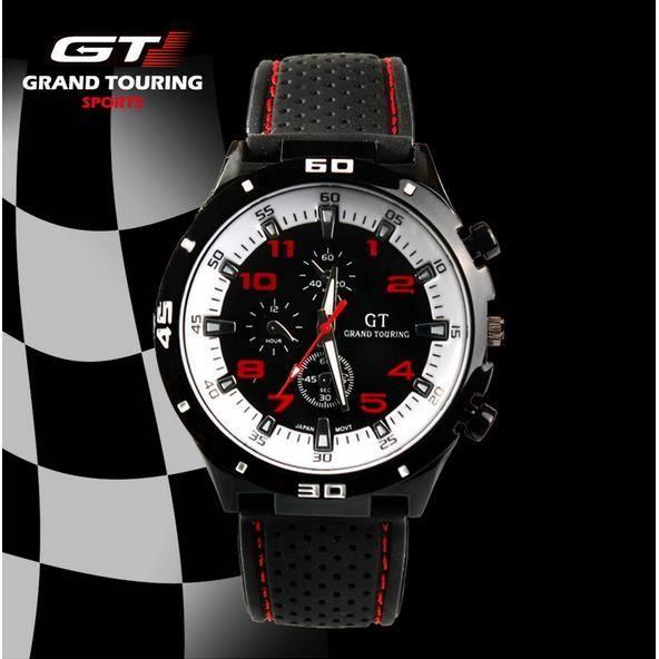 Montre GT Grand Touring Sport Homme Analogique Quartz Acier Inoxydable Silicone