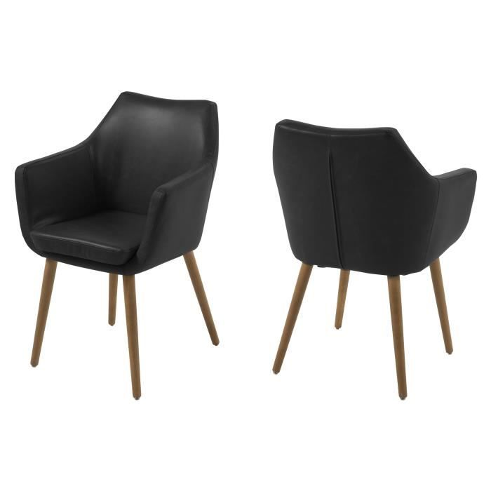 fauteuil en pu noir et pi tement en ch ne nora achat. Black Bedroom Furniture Sets. Home Design Ideas