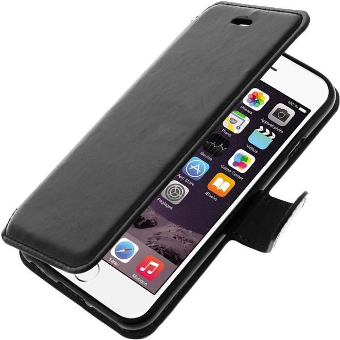 Housse etui portefeuille apple iphone 6 noir achat for Coque iphone 6 portefeuille