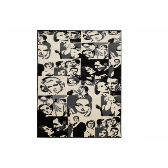 tapis d co pop art noir et blanc 120x170 cm achat vente tapis cdiscount. Black Bedroom Furniture Sets. Home Design Ideas