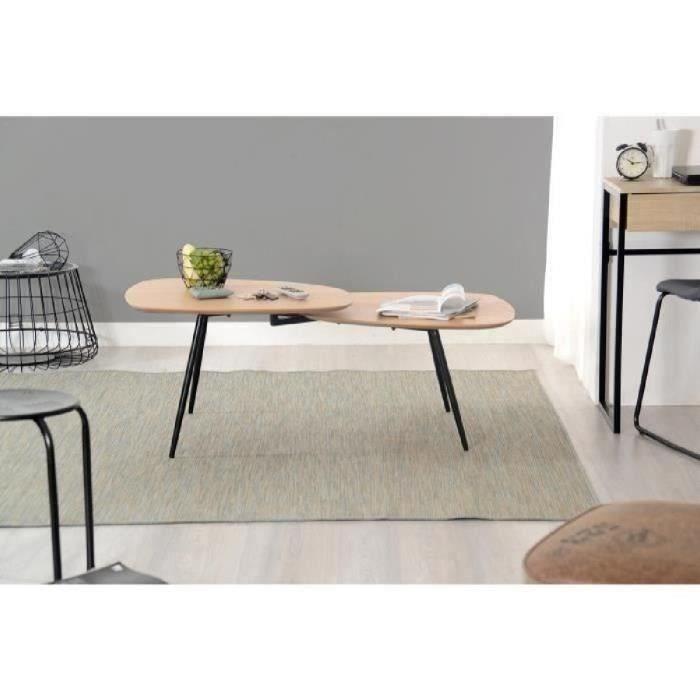 Link Table Basse Scandinave Placage Chene Vernis Naturel Avec