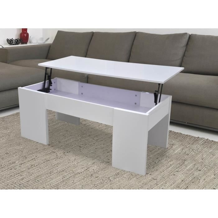 table basse avec le plateau relevable maria blanc laqu achat vente table basse table. Black Bedroom Furniture Sets. Home Design Ideas