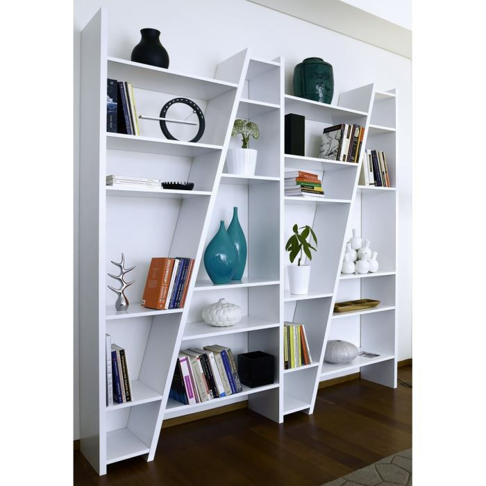 shaker 4 biblioth que tag re design blanc laqu achat. Black Bedroom Furniture Sets. Home Design Ideas