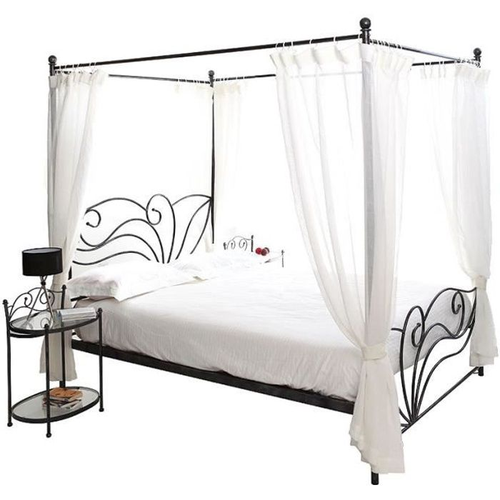 lit baldaquin 140 achat vente lit baldaquin 140 pas. Black Bedroom Furniture Sets. Home Design Ideas