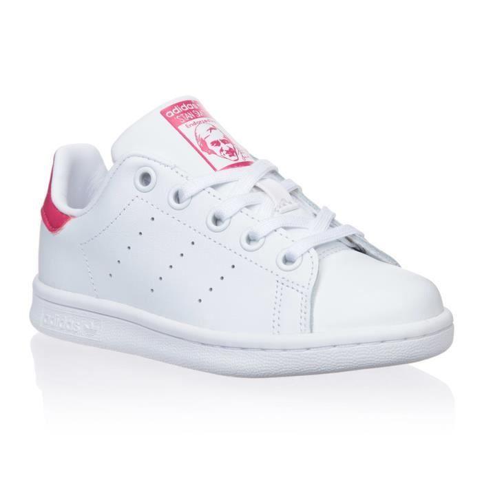 Chaussure Adidas - Stan Smith Enfant | Basket à Lacet - Blanc et Rose