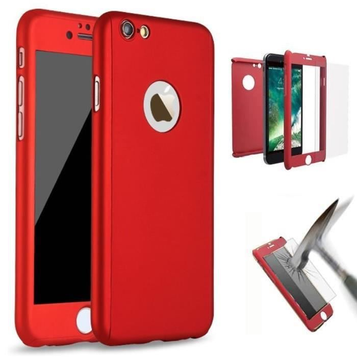 coque integrale iphone 7 rouge verre trempe