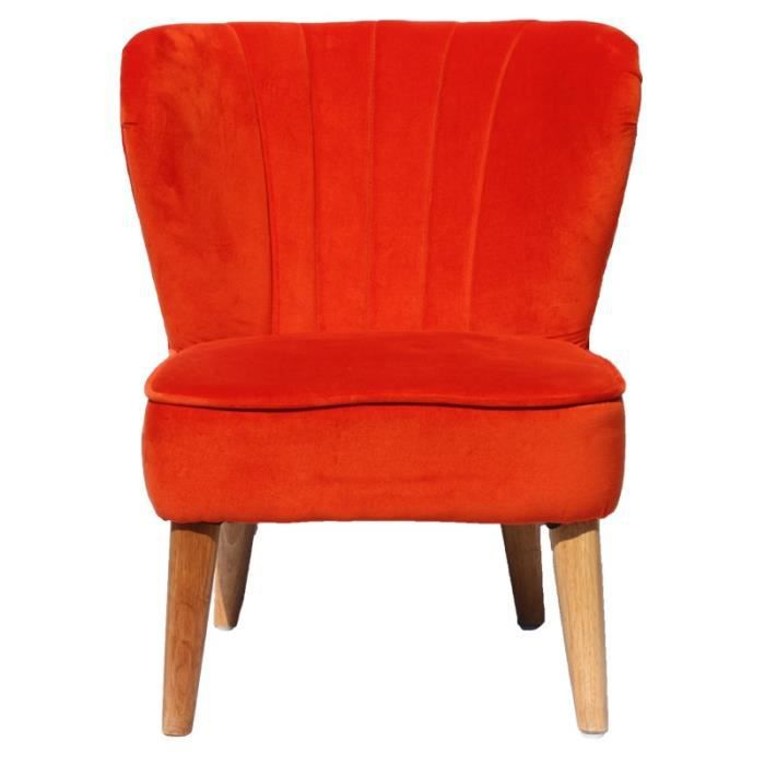 fauteuil enfant vintage velours orange achat vente. Black Bedroom Furniture Sets. Home Design Ideas