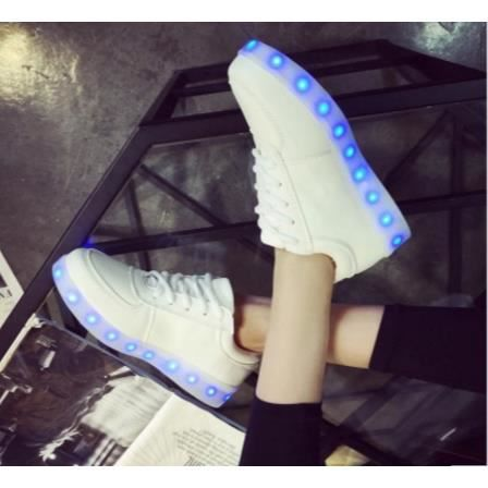 Blanc Mode 11 chaussures LED 7 multicolors USB rechargeable ZFRs2