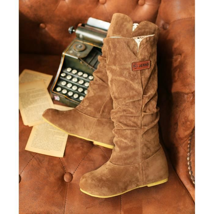 CachTa Suede Solide Casual Bottes Femmes Plat BfwSWZWRq1