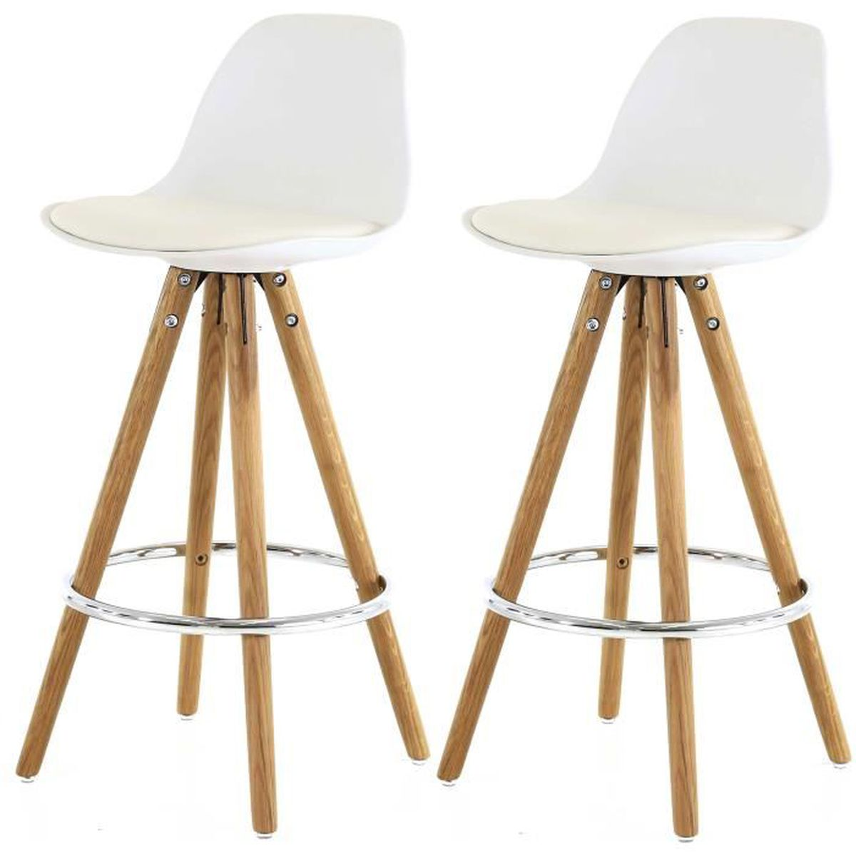 lot de 2 tabourets de bar scandinave blanc uma achat vente tabouret de bar blanc soldes. Black Bedroom Furniture Sets. Home Design Ideas