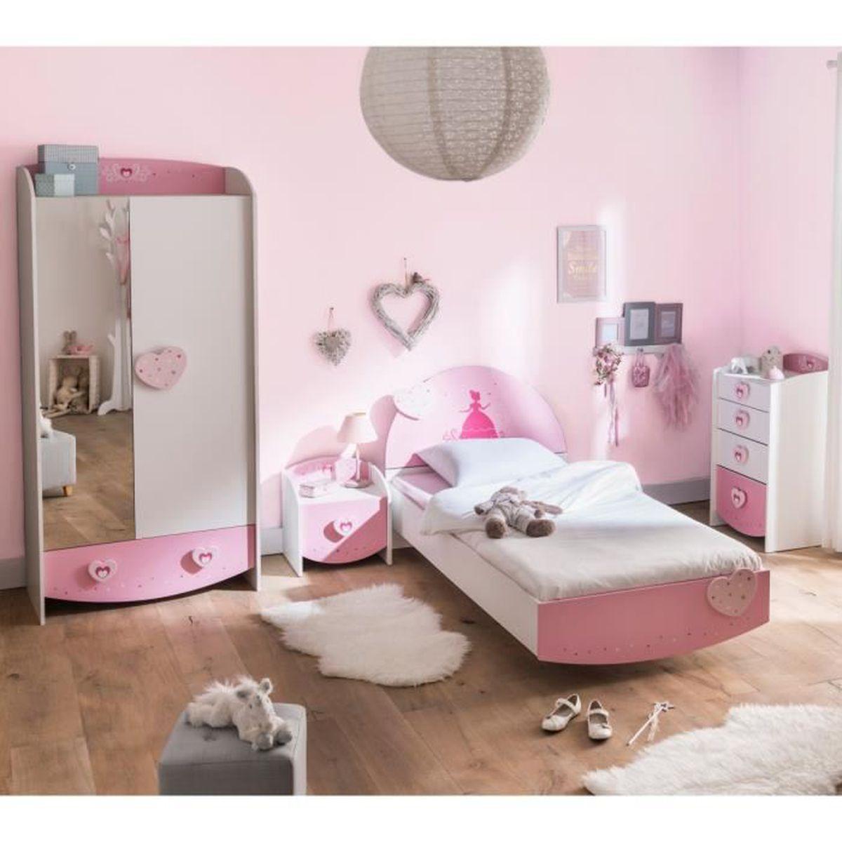 Chambre Taupe Et Rose chambre enfant féérie rose et blanc perle cb125 90x190
