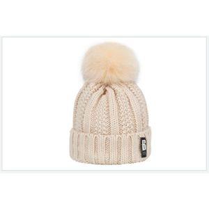 BONNET - CAGOULE 1 Bonnet POMPOM BEIGE chaud et doux en tricot doub