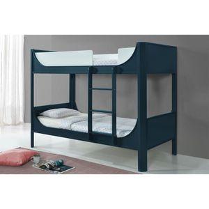 LITS SUPERPOSÉS Lit superposé enfant en bois bleu THIMEO 90 x 190