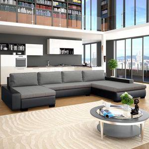 STRUCTURE DE LIT Canapé-lit modulaire Similicuir Noir et gris clair