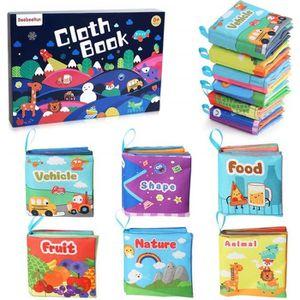LIVRE D'ÉVEIL BeebeeRun 6 PCS Livre Tissu Bébé Livres d'éveil Jo