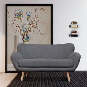 CANAPÉ - SOFA - DIVAN FurnitureR Canapé Droit Fixe 2 Places - Tissu Gris
