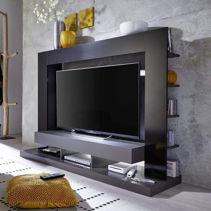 tt05 meuble tv mural avec clairage led contemporain gris mat et noir brillant l 164 cm. Black Bedroom Furniture Sets. Home Design Ideas