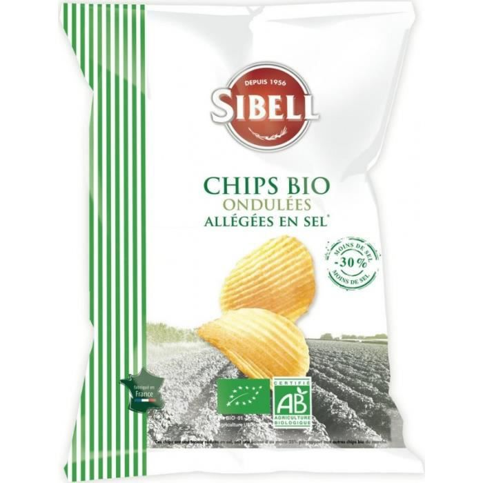 Sibell Chips bio ondulées allégées en sel