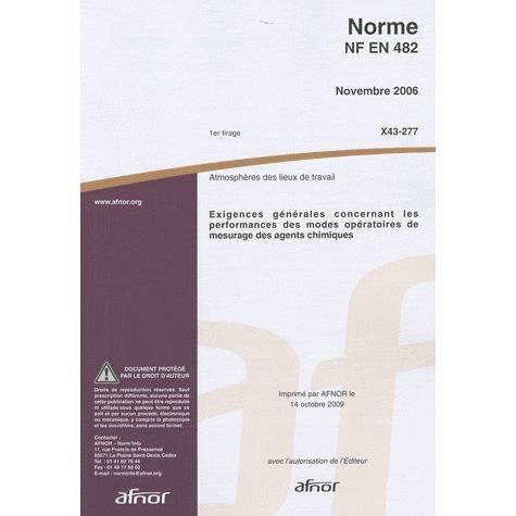 LIVRE GESTION Norme NF EN 482 Exigences générales concernant les