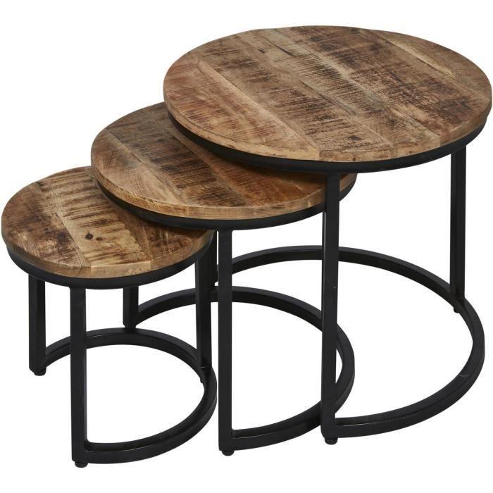 Table d'appoint HAKU Marron - plateau Bois Mango Massif pieds Metal Noir 54 x 54