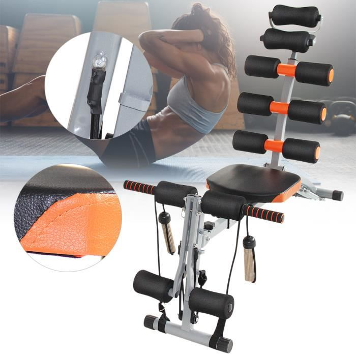 6 en1 Appareil de musculation pour abdominaux, bras dos et épaules - Acier enduit poudre - Orange / noir