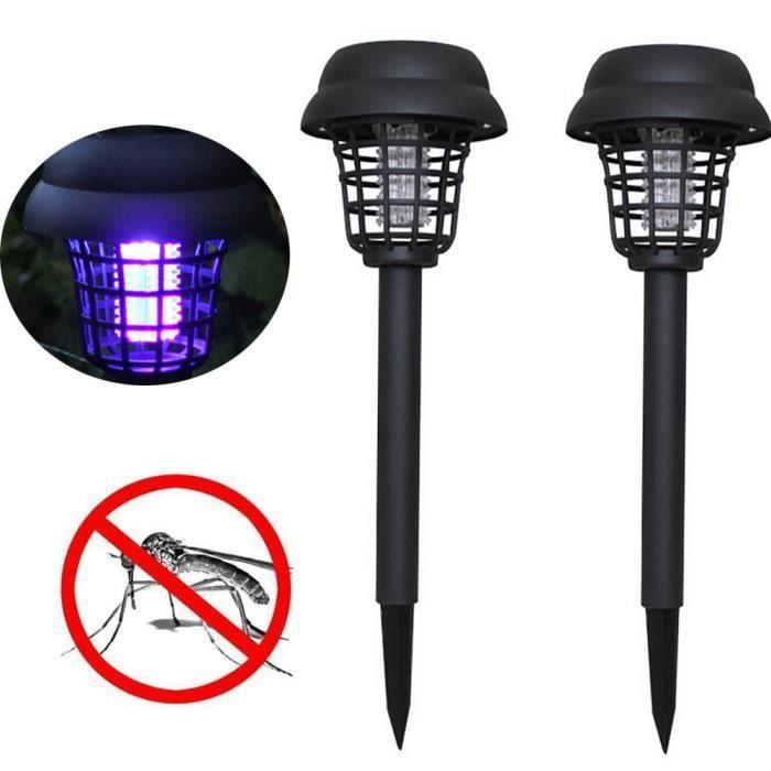 2PC solaire alimenté LED lumière moustique parasite Bug Zapper insecte lampe jardin GT304