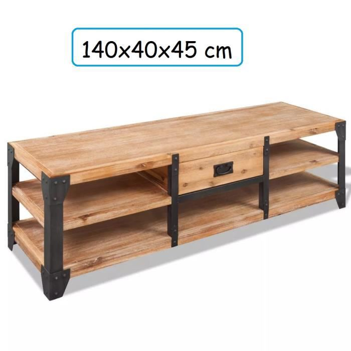 Meuble TV Large en bois d'Acacia Massif avec renforcement en Acier naturel salon television home cinema (