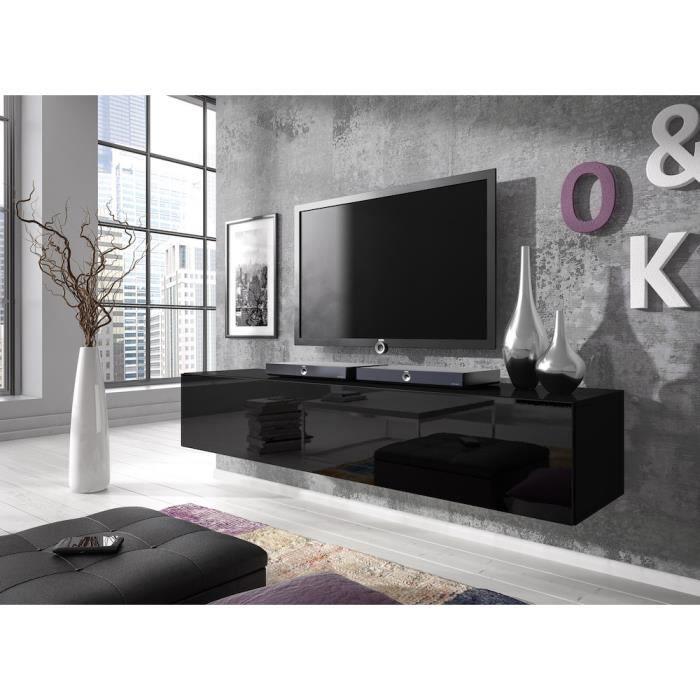 Meuble TV flottant Rocco 160 cm (corps mat Noir - portes Noir haute brillant)