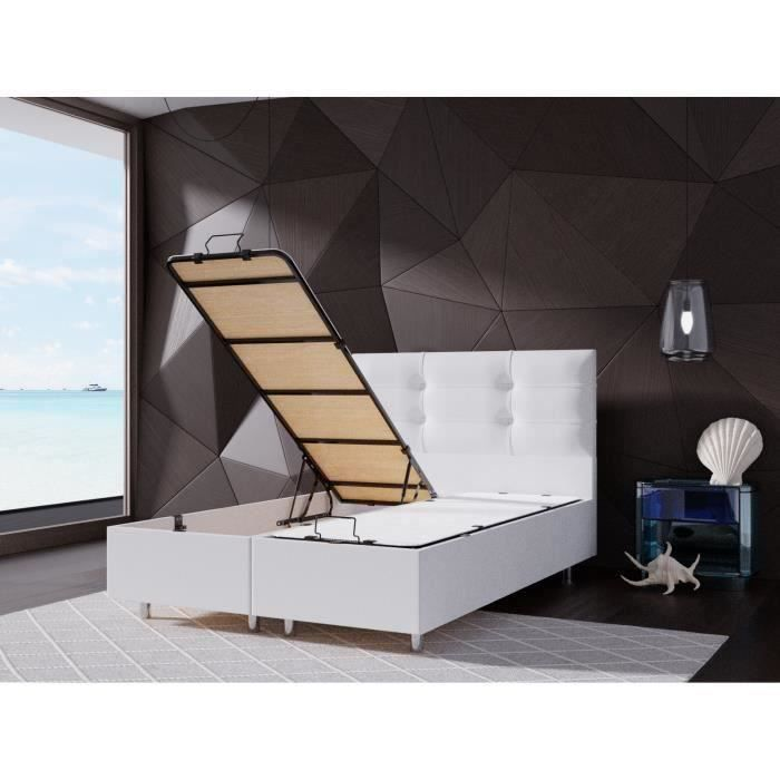 Lit CoffrePERLA BLANC 160x200 cm avec Sommier + Tete de lit Capitonne
