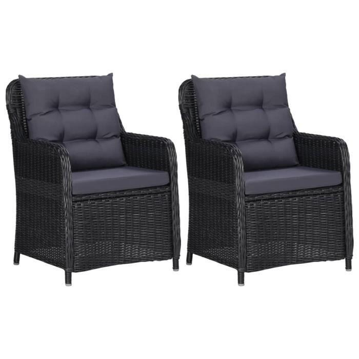 Magnifique- 2 x chaises Bistro Lot de 2 Chaises de jardin avec coussins -Chaises d'extérieur - Fauteuil de Jardin Résine tressée ®FV