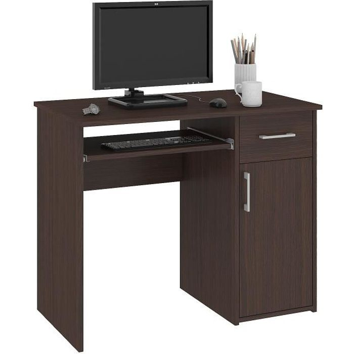 TORPE - Bureau informatique contemporain 90x74x50 cm - Taille compacte + support clavier + tiroir - Table ordinateur - Wenge