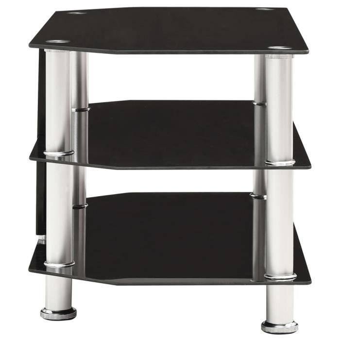 296109 - Design Furniture - Meuble TV Contemporain - Meuble HI-FI Banc TV Noir 75x40x40 cm Verre trempé