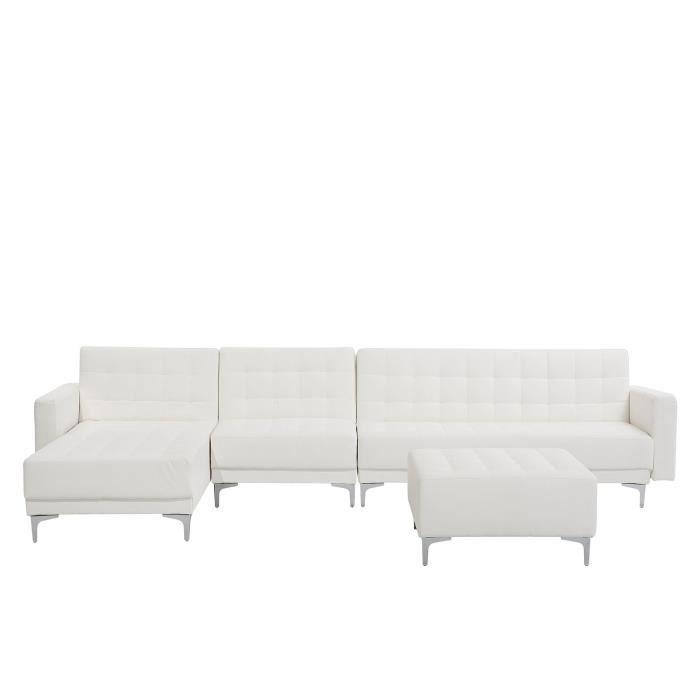 Beliani - Grand canapé d'angle à droite en simili-cuir blanc avec pouf ottoman ABERDEEN