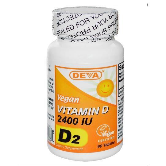 Deva, vitamine D, D2, Vegan,2400 IU,90 comprimés.
