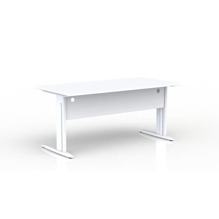 EOL - Bureau rectangulaire L 160 cm - Plateau blanc - Piétement blanc -