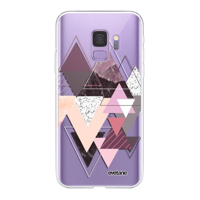EVETANE Coque compatible avec 360 Galaxy S9 360 intégrale transparente Triangles Design Ecriture Tendance Design