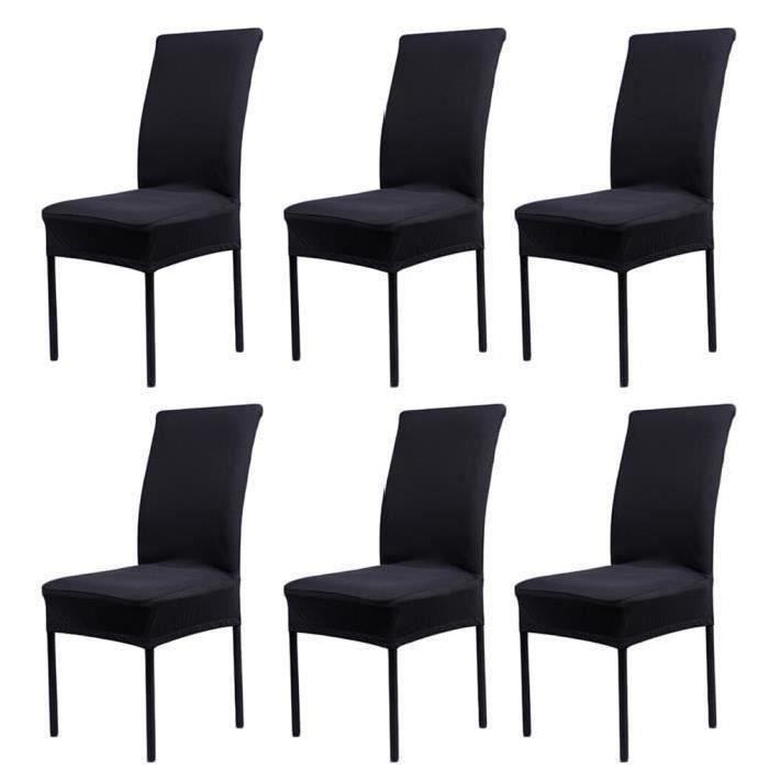 Lot de 6 Housses de Chaise Extensibles Universelle - Moderne - Noir