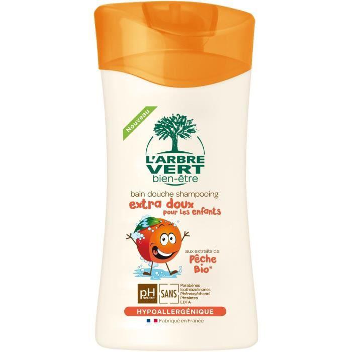 L'Arbre Vert Bien-être Bain Douche Shampooing Extra Doux pour les Enfants aux Extrait de Pêche Bio 250 ml