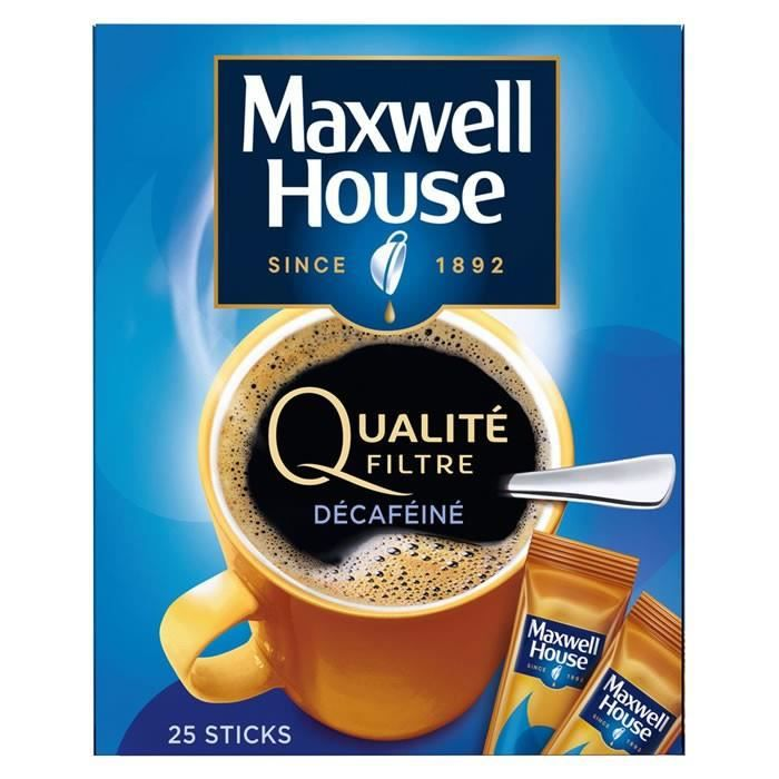 LOT DE 3 - MAXWELL HOUSE Qualité filtre décaféiné - Café soluble en sticks 50 g