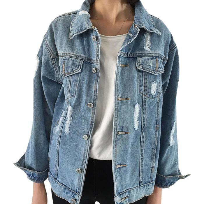 Veste en jean femme trou de décoration grande taille CASAQUE Vintage manches longues(S-L)-Bleu