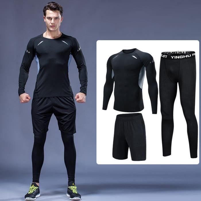 Ensemble tenue de compression hommes 3 pcs Maillot manches longues+Collant Running+Short Sport Dry Fitness Legging Séchage Rapide