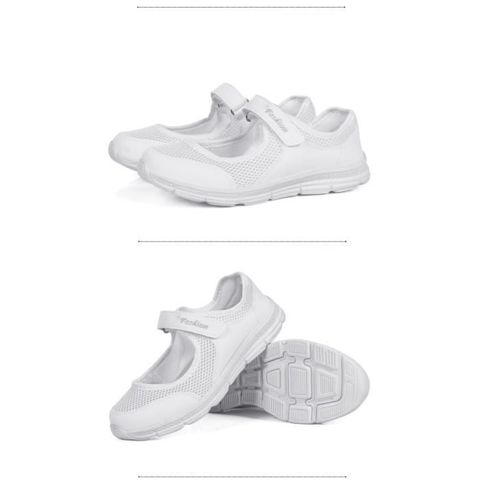 Chaussures de course de sport pour femmes, maille douce et respirante-blanc