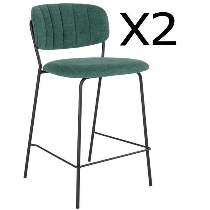 Lot de 2 chaises de bar en métal et tissu vert foncé - 54,5 x 48 x 90 cm