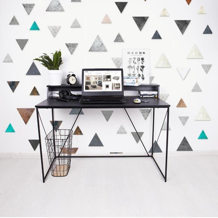 Bureau minimaliste / Bureau design - GRAPHALA - 120 cm - anthracite / noir - rehausse pratique