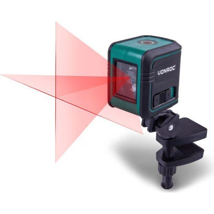 Niveau Laser Ligne rouge- Portée de 10 mètres - Autonivelant - Support de montage, sac de rangement et piles inclus