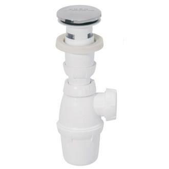 WIRQUIN Bonde lavabo Quick-Clac chromé sans trop-plein avec siphon NF