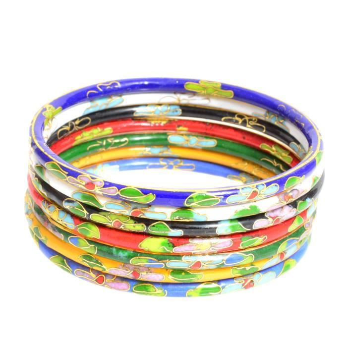 Womens Set Of Seven Multicolored Cloisonne Enamel Bangle Bracelets YVCMN